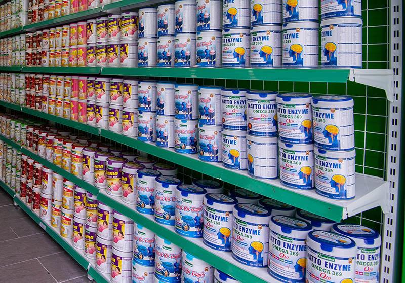 Sữa bột dinh dưỡng Vinanutrifood được bày bán tại hơn 200 siêu thị Nuti Mart và các siêu thị lớn trên toàn quốc