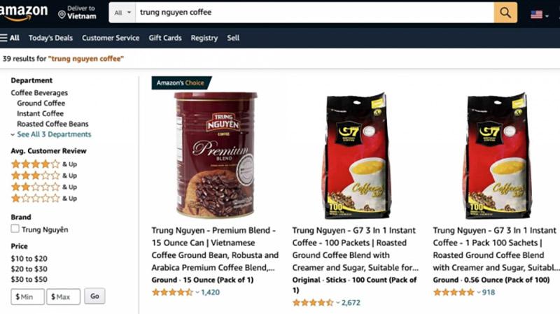 Sản phẩm cà phê Việt Nam bày bán trên sàn thương mại điện tử Amazon